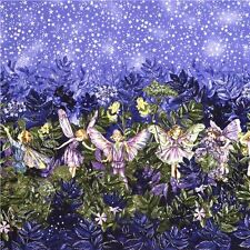 MICHAEL MILLER NIGHT FAIRIES SILVER METALLIC BORDER FABRIC