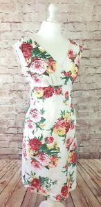 """Joules """"Julia Creme"""" Floral Tea Dress / Retro / Skater / Garden Party UK 8, US 4"""