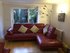 Collection only Full Red Leather Corner Sofa From Furniture Village