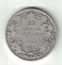 CANADA 1916 TWENTY FIVE CENTS QUARTER KING GEORGE V STERLING SILVER COIN