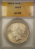 1923 Silver Peace Dollar $1 Coin ANACS AU-58