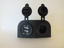 Double USB & Engel Fridge Socket Surface Mount 4x4 Camper Caravan Boat