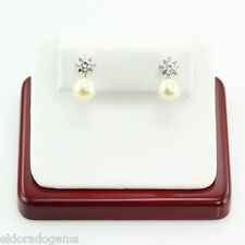8.5 MM NATURAL PEARL & 0.60 CT. DIAMOND ART DECO CLIP-ON EARRINGS 18K WHITE GOLD