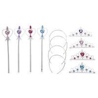 1x Crystal Girl Tiara Crown Princess Crown + Magic Wand Kids Hair Accessory JFLJ