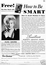 1937 Print Ad of How To Be Smart with Alma Archer authority on smartness