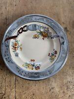 Vintage Leigh Potters Umbertone Farberware Art Deco Chrome & Ceramic Bowl Floral