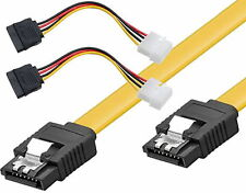 4 x SATA 6 Gbit Daten Strom Kabel = 2 Stück S-ATA gerade 50cm 2* Stromkabel 1g