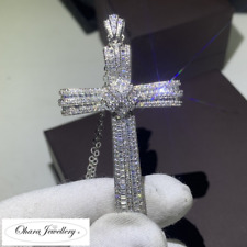 925 Solid Sterling Silver Large Cross Cubic Zirconia Vintage Necklace Jewellery