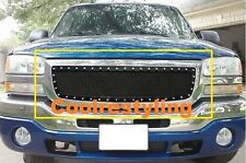 For 03 04 05 06 GMC Sierra 1500 Black Wire Mesh Rivet Stud Grille Grill Insert
