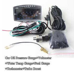6IN1 Multi-functional LCD Car Oil Pressure Meter Voltmeter Water Temp Fuel Gauge