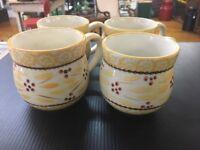 Temptations by Tara Old World (Yellow ).....(4) 12 oz Coffee Mugs E7