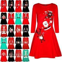 Children kids Girls Xmas Christmas Party Swing Dress Santa snowman Top UK 3-14