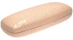 NEW Beige Alligator Crocodile Print Hard Eyeglasses Glasses Case w/ Cloth C4