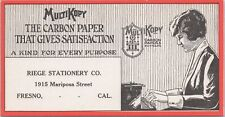 Ink Blotter MultiKopy Carbon Paper Riege Stationary Co Fresno Ca Typewriter