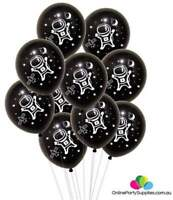 """10 x 12"""" Black Astronaut Latex Party Balloons Outer Space Spaceman Rocket Star"""