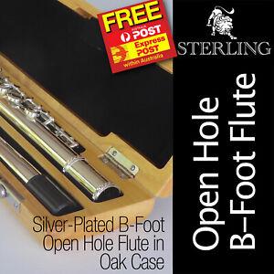 Silver-Plated B-Foot OHB  Flute • STERLING Open Hole B • With Oak Wood Case  •