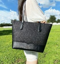 Kate Spade Lola Large Glitter Tote CONTINENTAL Wallet Cosmetic Case 3 PC Set