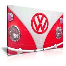 Rojo Retro Vw Volkswagen Camper Van tela pared arte Foto impresión 76x50cm