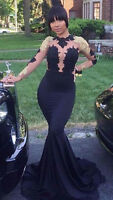 Black and Gold Mermaid Prom Dresses Celebrity Formal Evening Cocktail Party Gown