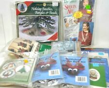 Lot of 9 Christmas Needlecraft Kits Cards Necklace Sequin Ornaments Tree Skirt