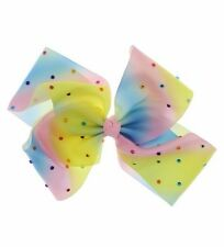 Multi-Colour Large Pastel Rainbow Ladies Girls Hair Bows Clips Party Ribbons B4