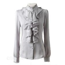 Winter Shirt Career Shiny Womens Blouse Ruffle Collar Victorian Ladies Top Size Grey 14