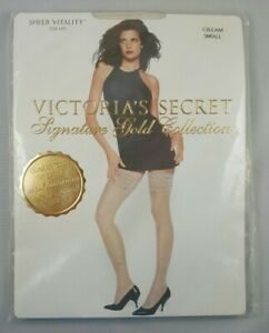 Victorias Secret Thigh High Pantyhose Size S Cream Signature Gold Collection NEW