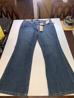NEW Jeanstar Womens Mercury Flare Jeans 14 Petite Low Rise Bootcut Stretch