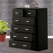 Tallboy Chest of 6 Drawers Cabinet Dresser Bedroom Storage Furniture Walnut New