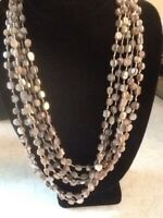 Vintage 6 Strand MOP Shell Beads Double Knotted Cascading Beige Tone Necklace