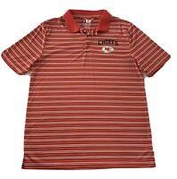 Kansas City Chiefs NFL Team Apparel Men's Polo Shirt Red White Striped Large