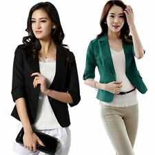 Womens 3/4Sleeve Blazer One Button Suit Jacket Coat Outwear Business Tops S-XXL