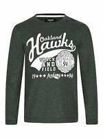 BOYS LONG SLEEVE DARK GREEN GRAPHIC OAKLAND HAWKS ACADEMY TOP AGE 2-14 YEARS