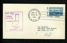 US Postal History #1013 HPO First Trip 10/18/1952 Elkhardt IN & Indianapolis IN