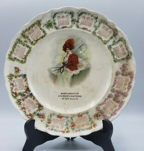 1909 Calendar Plate Groves Shoe House Advertising Victorian Lady La Francaise