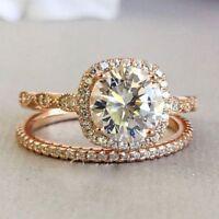 2Ct White Moissanite Halo Wedding & Engagement Ring Set Solid 14K Rose Gold