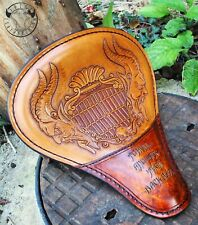 Motorcycle Custom Leather Solo Seat Bobber Chopper Harley