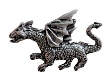 Dragon Small Pewter Pin Badge - Hand Made in Cornwall