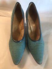 Blue Fabric Heels Size 8 A True Vintage Pointy Toe Rockabilly Nwob Stiletto Turq
