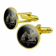 Got Your Back Soldier Shepherd Camo Round Cufflink Set Gold Color