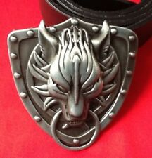 3D FINAL FANTASY GOTHIC CELTIC TRIBAL GREY WOLF HEAD JEANS BUCKLE LEATHER BELT