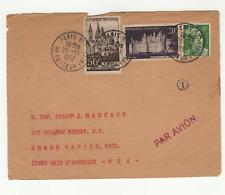 France 3 timbres sur devant de lettre 1952 tampon Paris  /L620
