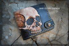 Mens Leather wallet,Wallet carved skull,Skull Wallet,Skeleton wallet,Hand-carved