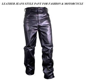 MEN'S MOTORCYCLE FASHION RIDER BIKER Touring Motorbike JEANS STYLE LEATHER PANTS