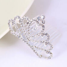 Stylish Kids Girls Princess Tiaras Headwear Crystal Rhinestone Crown Hair Comb White