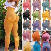 Women Leggings High Waist Butt Lift Stretchy Workout Smile Contour Yoga Pants US