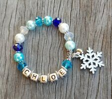 Personalised Name FROZEN Inspired Kids Bead Bracelet Charm Party Favour Jewelry
