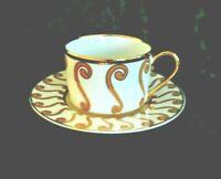 Vintage Fine Porcelain Laurel Shield Cup and Saucer White Gold Trim Set of 3