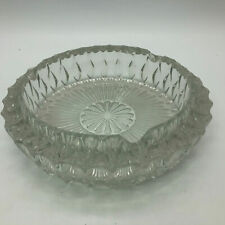 "Vintage Round Clear Glass Ashtray Dish 7-1/2"" Tobacciana"