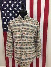 vtg Woolrich Moose & Bear Denim Shirt men's LARGE montana idaho alaska tan 47237